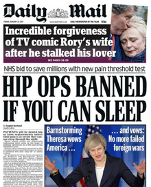Daily Mail front page - 27 Jan